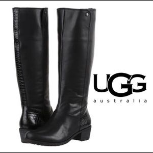 UGG Barton Boot Black -Leather - Shearling 7.5